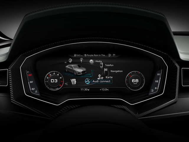 Audi virtual cockpit, integrated MMI cluster instrument in Sport Quattro Concept, photo: AUDI AG